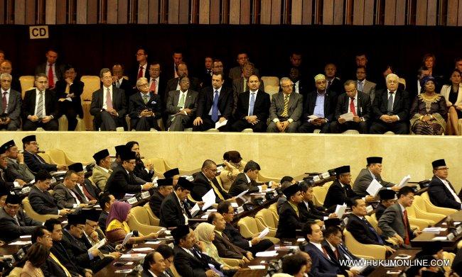 Undangan, tamu dan duta besar negara sahabat hadir dalam rangka pidato kenegaraan Presiden SBY