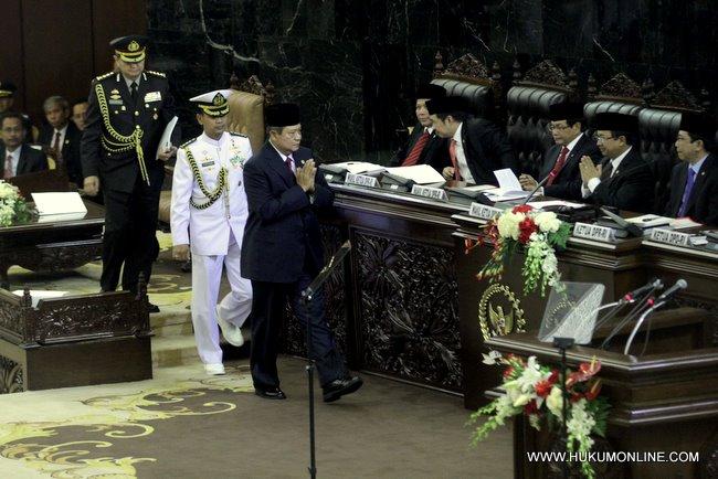 Presiden SBY sebelum menyampaikan pidato kenegaraan dalam rangka HUT RI ke 66 di gedung MPR-DPR
