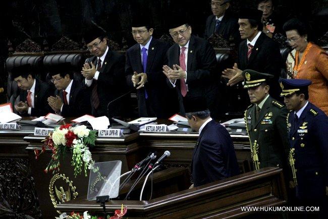 Presiden SBY usai menyampaikan pidato kenegaraan dalam rangka HUT RI ke 66 di gedung MPR-DPR