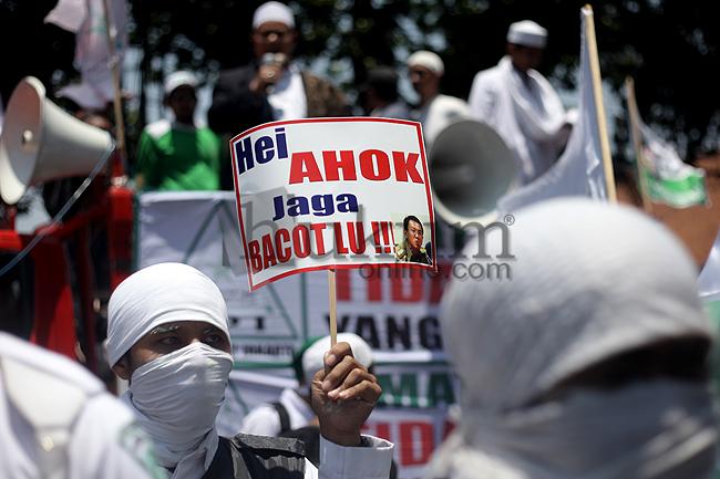 Aksi Demonstrasi FPI menolak Ahok. Foto: RES