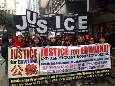 Aksi unjuk rasa solidaritas buruh migran atas kasus Erwiana. Foto: Facebook