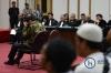 Terdakwa kasus dugaan penodaan agama Basuki Tjahaja Purnama atau Ahok menjalani sidang lanjutan dengan agenda pembacaan tuntutan oleh Jaksa Penuntut Umum di Pengadilan Negeri Jakarta Utara pada Auditorium Kementerian Pertanian, Jakarta, Kamis (20/4).