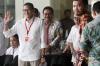 Wakil Gubernur DKI Jakarta terpilih Sandiaga Uno saat menjawab pertanyaan wartawan saat tiba di gedung KPK Jakarta, Jumat (14/7).