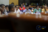 Ketua Komisi Pemberantasan Korupsi (KPK) Agus Rahardjo bersama Wakil Ketua KPK Laode M Syarif, Saut Situmorang, Basaria Panjaitan dan Alexander Marwata bersiap mengikuti rapat dengar pendapat dengan Komisi III DPR di Kompleks Parlemen Senayan, Jakarta, Senin (11/9).