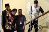 Ketua Mahkamah Kehormatan Dewan (MKD) DPR Sufmi Dasco Ahmad (kedua kanan) berbincang dengan Wakil Ketua MKD, Syarifuddin Suding (kedua kiri) disaksikan dua Anggota MKD Agung Widiantoro (kiri) dan Maman Imanul Haq (kanan) usai memeriksa tahanan KPK Setya Novanto di gedung KPK, di Jakarta, Kamis (30/11).