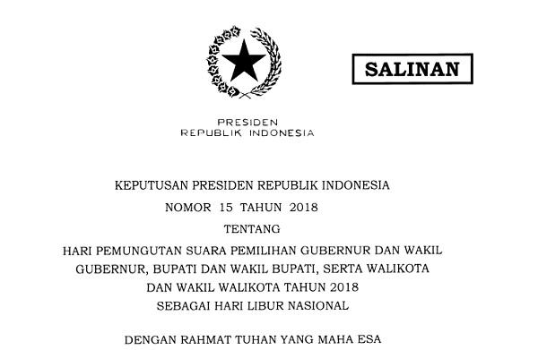 presiden tetapkan 27 juni sebagai libur nasional pilkada 2018 rh hukumonline com