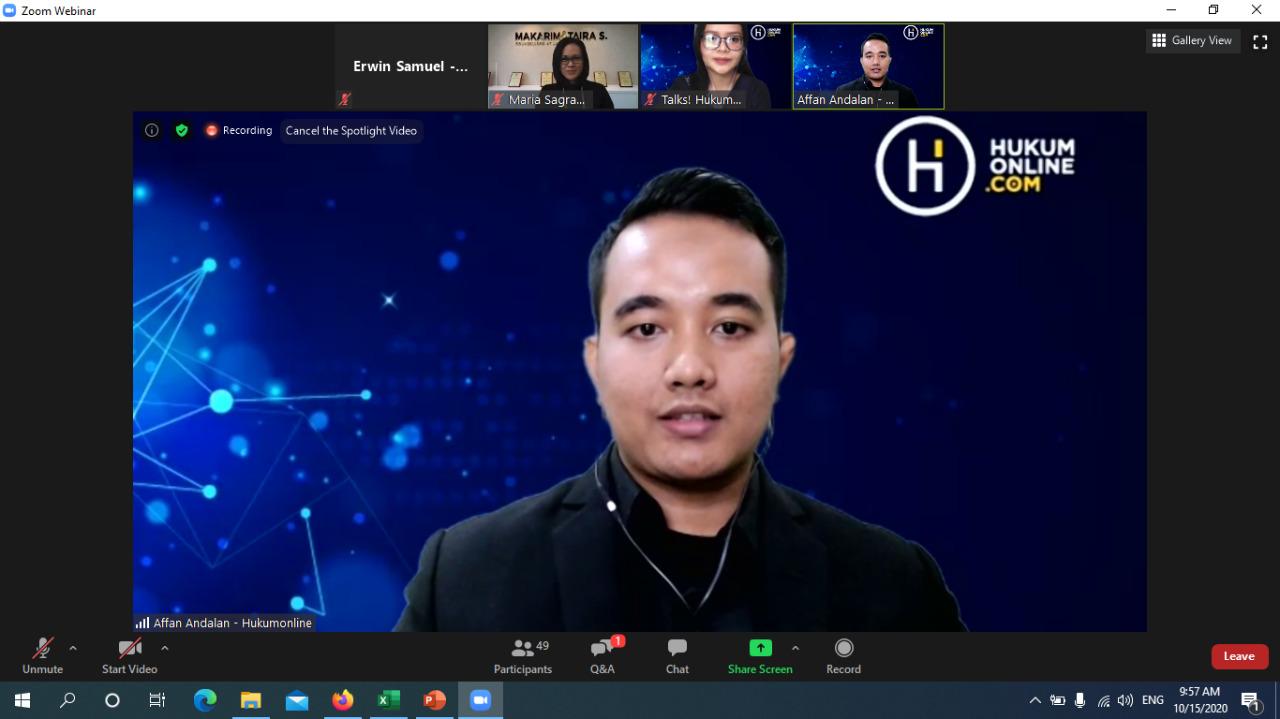Moderator – Affan Andalan, Legal Analyst Hukumonline.com dalam Webinar Strategi Mengimplementasikan Good Corporate Governance (GCG) di Perusahaan (15/10/2020)