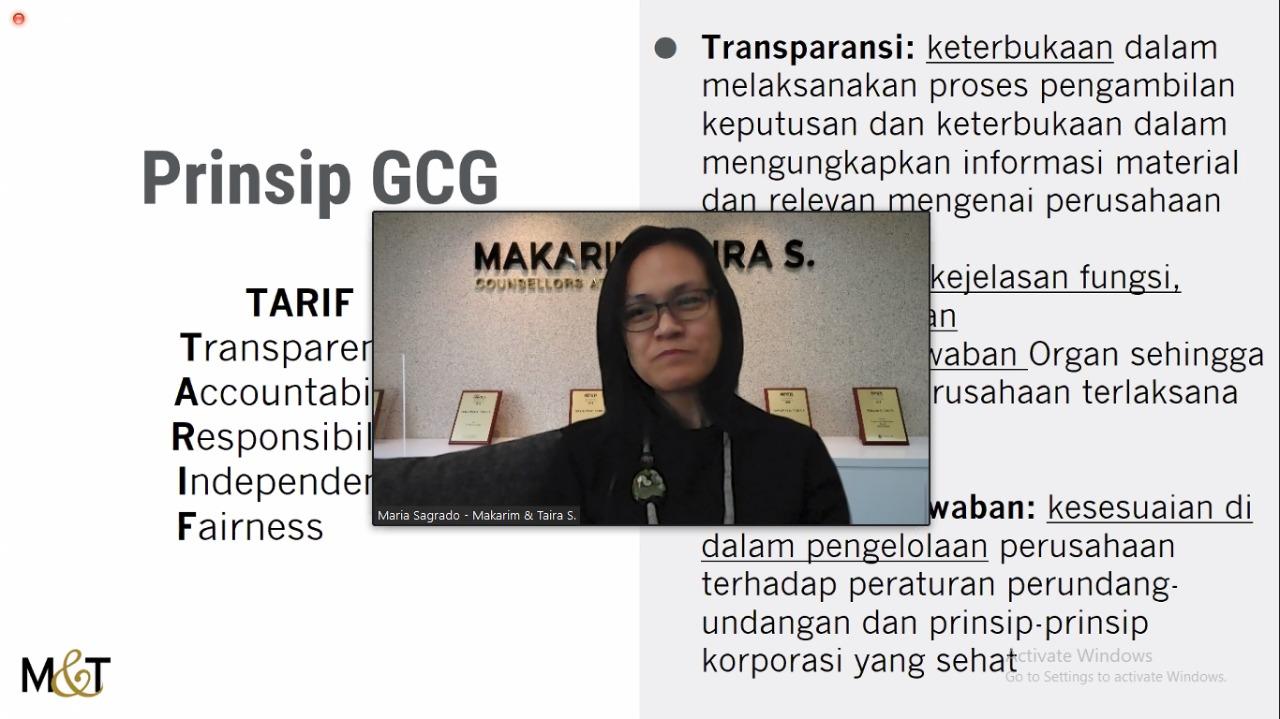 Pemaparan Materi dalam Webinar Strategi Mengimplementasikan Good Corporate Governance (GCG) di Perusahaan dari Ibu Maria - Partner Makarim and Taira S. (15/10/2020)