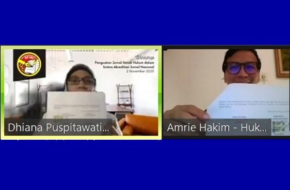 Penandatanganan kerja sama dilakukan oleh Chief Content Officer Hukumonline Amrie Hakim dengan Ketua APJHI Dhiana Puspitawati. Foto: Hol