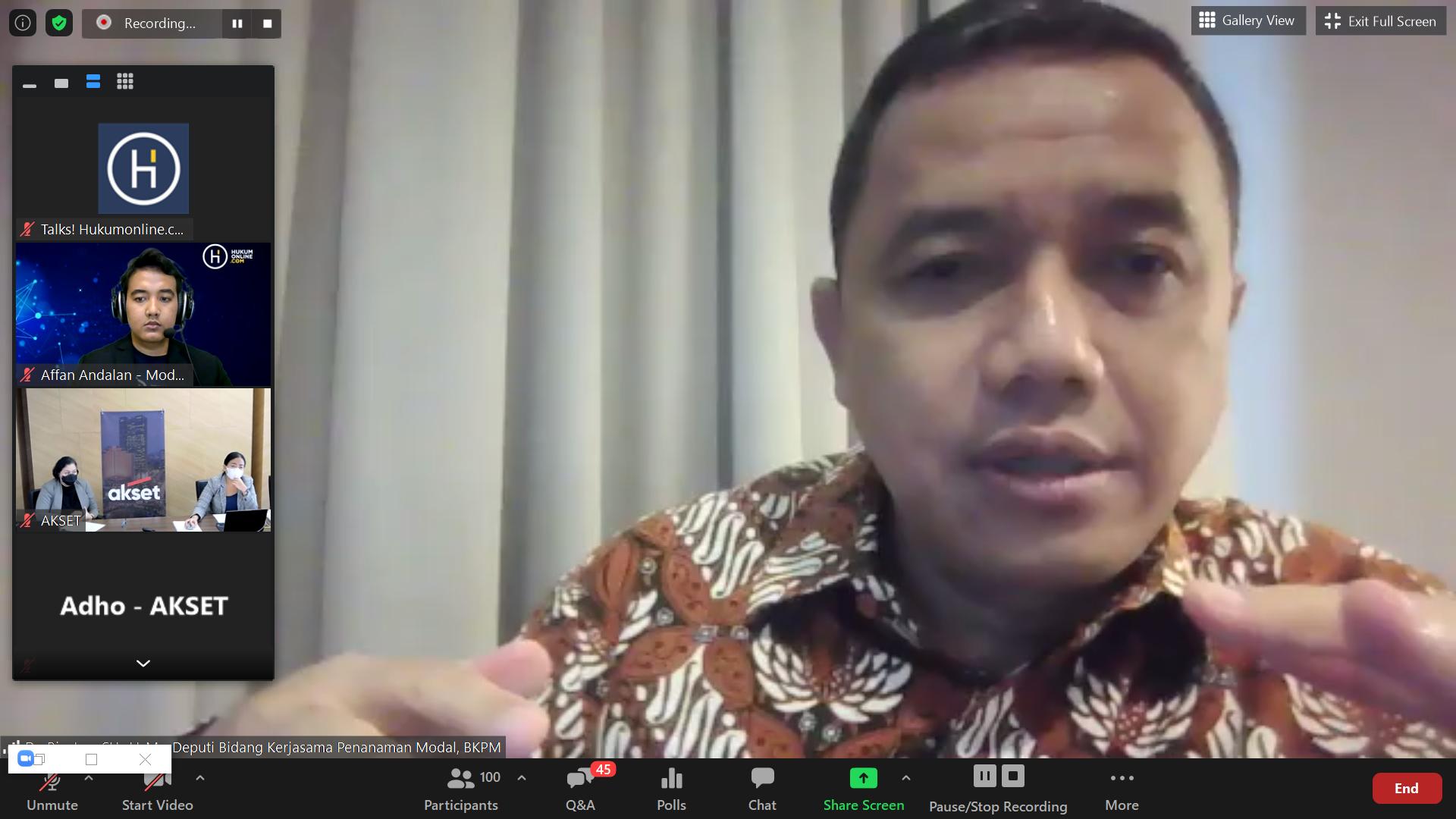 """Webinar Hukumonline 2021  """"Memahami Penerapan Perizinan Berusaha Berbasis Risiko Berdasarkan Peraturan Pelaksana UU Cipta Kerja"""" - Bapak Riyatno BKPM (25/3/2021)"""