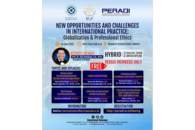 Seminar internasionalPERADI bertema 'New Opportunities and Challenges in International Practice: Globalisation & Professional Ethic'.Foto: istimewa