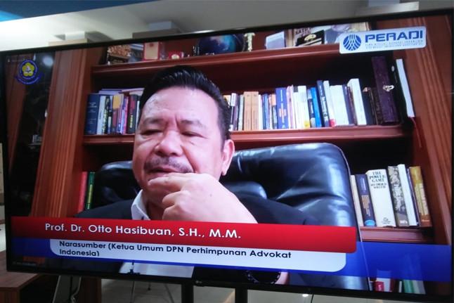 Ketua Umum DPN PERADI, Prof. Dr. Otto Hasibuan, S.H., M.M. dalam Seminar Nasional bertajuk 'Single Bar System Solusi Organisasi Advokat Indonesia: Suatu Telaah Yuridis Akademis. Foto: istimewa.