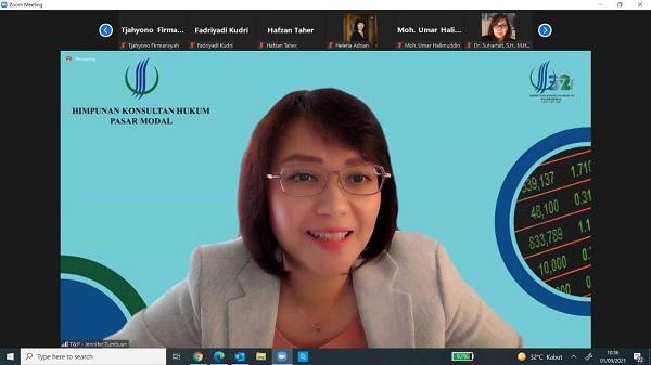 Wakil Ketua HKHPM Jennifer B Tumbuan dalam Webinar HKHPM Tahun 2021 bertema Implikasi Berlakunya POJK No.3/POJK.04/2021 Bagi Perusahaan Terbuka, Rabu (1/9).