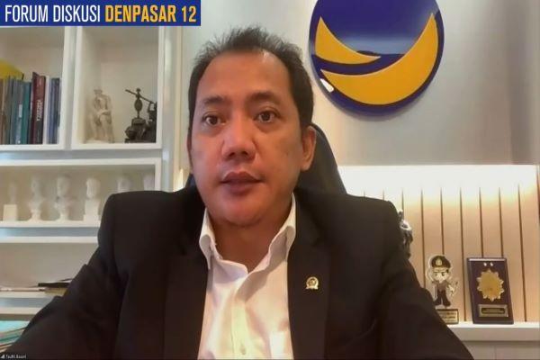 Ketua Fraksi Partai Nasdem di MPR, Taufik Basari dalam diskusi daring terkait wacana amandemen konstitusi, Rabu (1/9/2021). Foto: RFQ