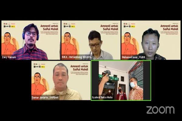 Sejumlah narasumber dalam konferensi pers bertajuk 'Amnesti untuk Saiful Mahdi' secara daring, Kamis (2/9/2021). Foto: RFQ