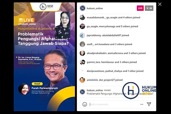 Dekan FH Unpar Liona Nanang Supriatna saat IG Live Hukumonline Academy ke-12 bertajuk 'Problematik Pengungsi Afganistan, Tanggung Jawab Siapa?', Jumat (3/9/2021). Foto: RES