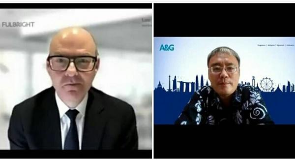 Chair & Head of Risk Advisory of Norton Rose Fulbright Australia, Scott Atkins dan Partner Allen and Gledhill Law Firm, Andrew Chan, dalam webinar internasional yang diselenggarakan Asosiasi Kurator dan Pengurus Indonesia (AKPI), Kamis (2/9).