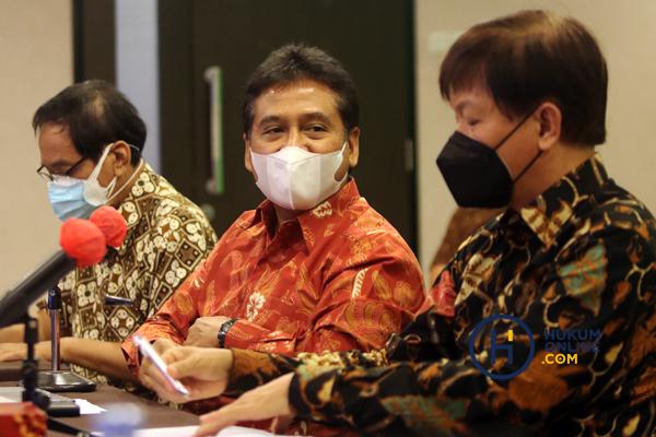 Apindo mengadakan jumpa pers terkat usulan moratorium UU Kepailitan dan PKPU, Selasa (7/9), di Jakarta. Foto: RES