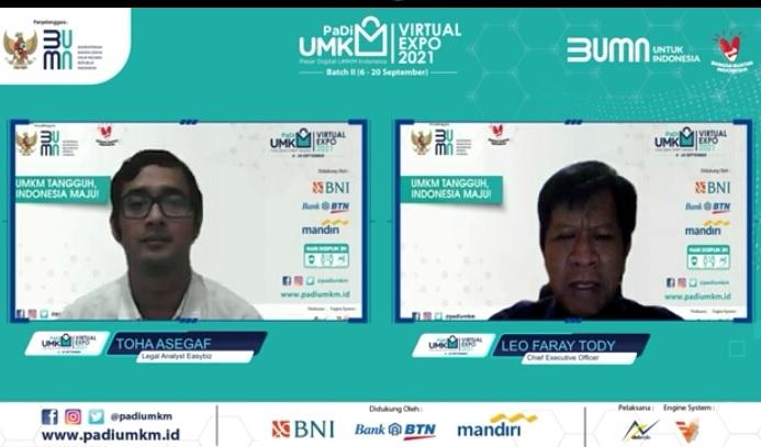 Acara Business-Talk Layanan Hukum bagi UMKM bersama Hukumonline yang diselenggarakan oleh Easybiz dan PaDI UMKM, Jumat (17/9).