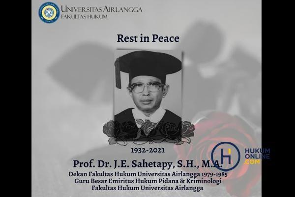 Prof JE Sahetapy, Guru Besar Emeritus FH Unair Tutup Usia