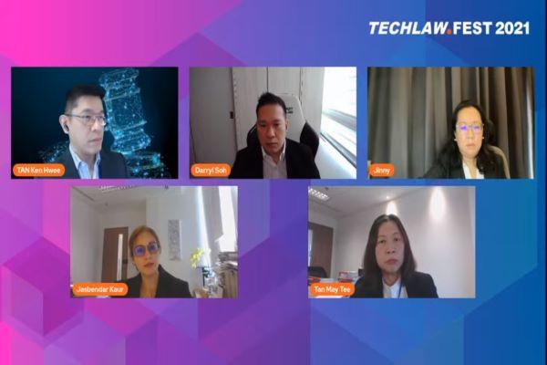 Sejumlah narasumber dalam diskusi secara daring TechLaw Fest 2021 bertajuk 'How Covid has Augmented Court Processes', Kamis (23/9/2021). Foto: ADI