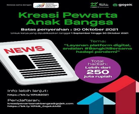 Gojek dan AMSI Gelar Penghargaan Karya Jurnalistik Kreasi Pewarta Anak Bangsa